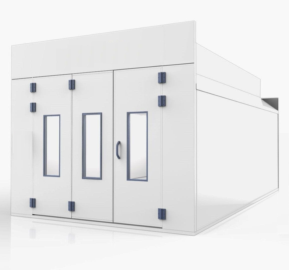 Enclosed spray booth for vehicles