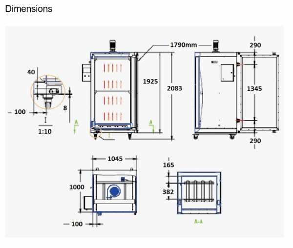 4 wheel electric oven dimensions