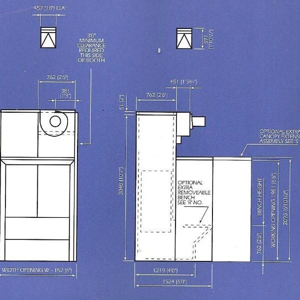 TEMA NP SPRAY BOOTH DIMENSIONS