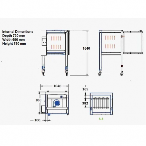 TEMA E10 3 Phase Electric oven dimensions