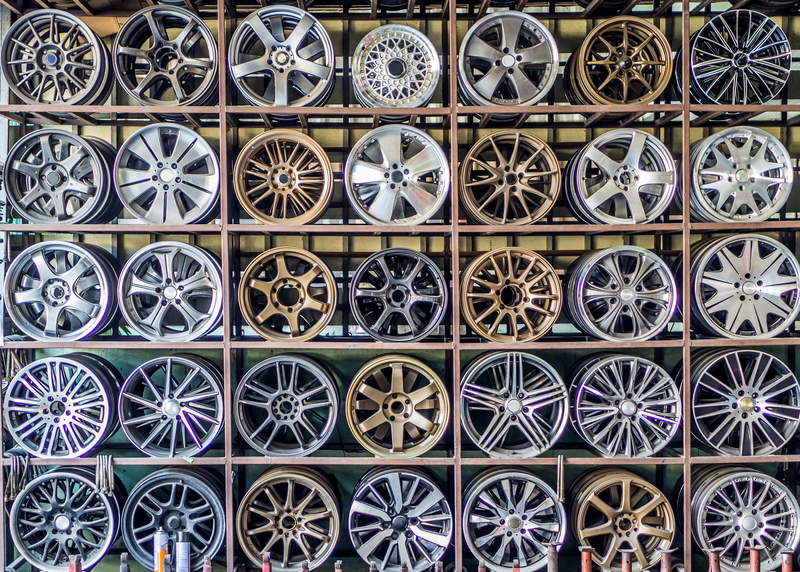 wheel alloys on a shelf