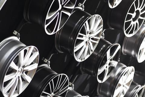 Car rims on the wall